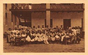 Nigeria young girls christians natives postcard