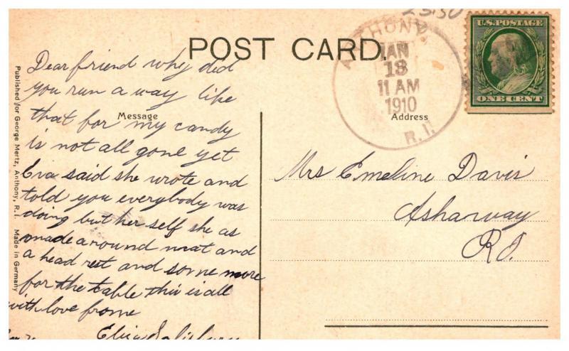 Rhode Island Anthony, Anthony Mill,  ANthony Cancel 1910