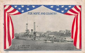 For Home and Country, U.S.S. New York in the Harbor, Early Patriotic Postcard