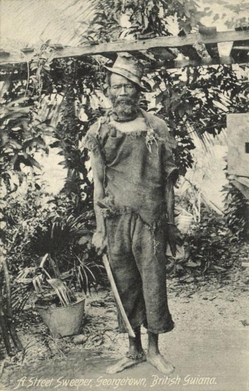 british guiana, GEORGETOWN, Native Street Sweeper (1910s)