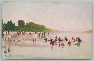 Louisville Kentucky~Bathers In Beach Shawnee Park~Vintage Postcard