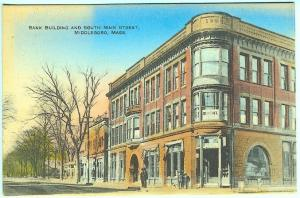 Middleboro MA South Main Street Bank Building Dentist Sign Vintage Postcard