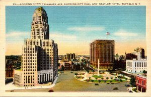New York Buffalo Looking Down Delaware Avenue Showing City Hall and Statler H...