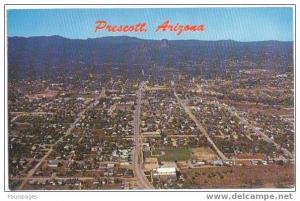 Air View of Prescott, Arizona, AZ, Chrome