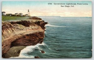 San Diego California~Point Loma Government Lighthouse~Bluffs Below~c1910