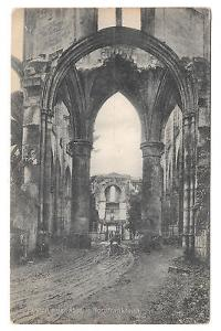 France WWII Abbey Ruins Nordfrankreich Vintage German Postcard