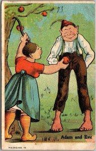 Vintage Greetings Postcard Adam and Eve Apple Tree P.S. Chicago 73 Unused