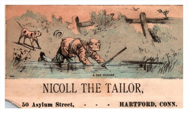13224    Trade Card  Hunter fell in Pond   CT  Hartford  Nicoll the Tailor