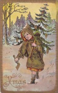 Christmas Young Girl With Christmas Tree