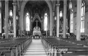 Dyersville Iowa~St Francis Xavier Catholic Church Interior~Altar~1940s RPPC