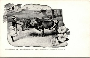 Vtg 1900s A Suburban Scene Cows and Calves New Milford Pennsylvania PA Postcard