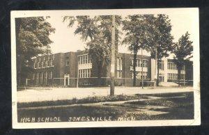 RPPC JONESVILLE MICHIGAN HIGH SCHOOL BUILDING VINTAGE REAL PHOTO POSTCARD