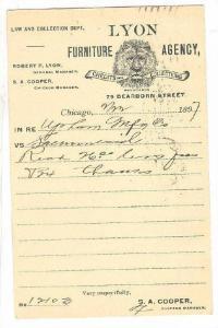 Chicago , Illinois , PU-1897 : Lyon Furniture agency