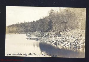 RPPC NEWBURYPORT MASSACHUSETTS LAKE DOCK 1906 VINTAGE REAL