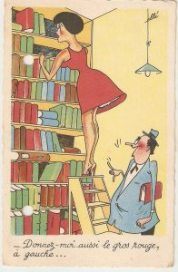 Man at lady on ladder.- Give me... Humorous vintage French postcard