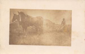 Real Photo Postcard~Horse Team Pulls Farm Hand Plow~Farmer on End~c1912 RPPC