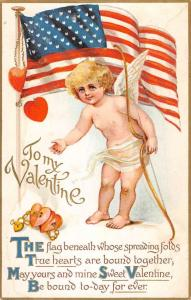 Valentines Day Cherub Cupid Angel USA Flag Antique Postcard K100477