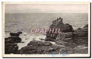 Old Postcard The D & # 39olonne Sables Rocks on the Cote du Puits d & # 39Enfer