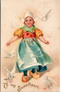 Postcard Unsigned Clapsaddle Dutch Girl with Doves Valentine's Day 1908 A17