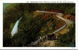 Postcard Appalachian Scenic Highway Crossing Blue Ridge Mountains Vintage NC