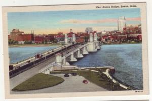 P134 JL 1930-45 linen west boston bridge cars boston mass