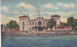 Florida Miami Front View Of James Deering Home Seen From Sightseeing Boat 1949