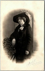 Vintage RPPC Real Photo Postcard Pretty Young Woman in Large Hat & Dark Coat