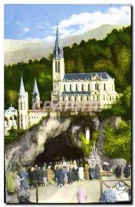 Modern Postcard Souvenir De Lourdes Basilica And The Cave