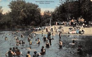 Wichita Kansas~Walnut Grove Bathing Beach~Dressed People Under Umbrellas~1914