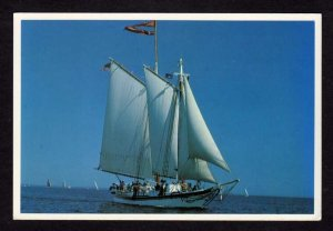 ME Schooner Sailboat The Isaac H Evans Rockland Maine Douglass Lee Postcard