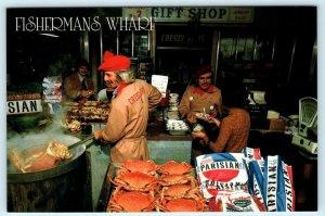 SAN FRANCISCO, CA ~ Fisherman's Wharf CRESCI BROS CRAB STAND 1989~ 4x6 Postcard