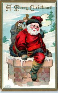 Vintage Christmas Postcard SANTA CLAUS Red Suit Bag of Toys /Chimney 1910 Cancel