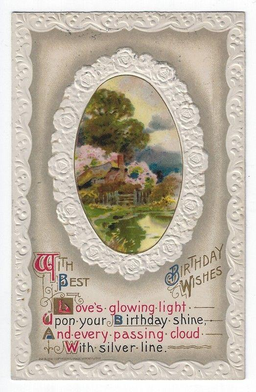 Search birthday greeting hippostcard early birthday greetings post card country house by a stream john winsch 1911 m4hsunfo