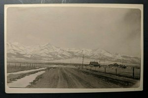 Mint Vintage House on Dirt Road Mountains American West Real Picture Postcard
