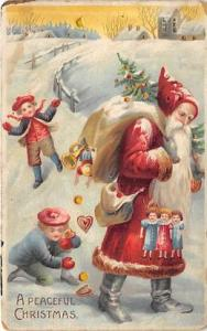 Hold To Light Santa Claus Postcard Old Vintage Christmas Post Card A Peaceful...