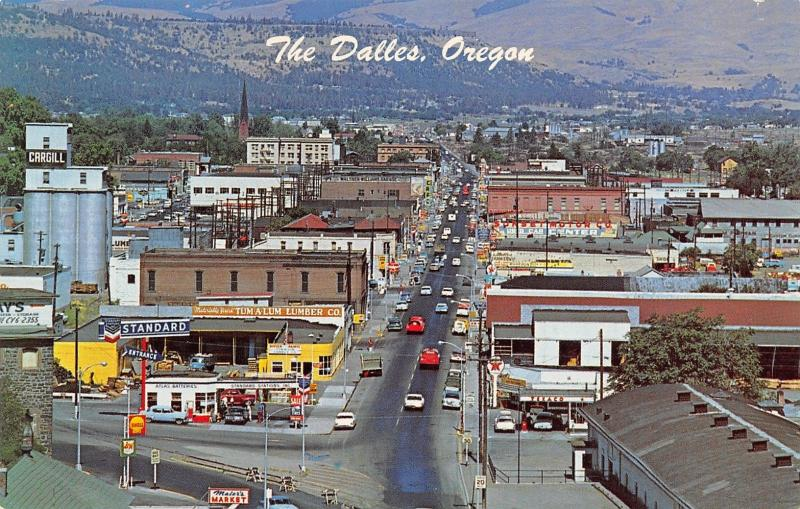 The Dalles Oregon~Texaco & Standard Stations~Cargill Elevator~Sunset Motors~1963 / HipPostcard