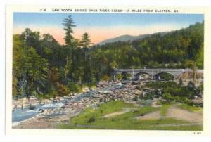 Sawtooth Bridge, Tiger Creek near Clayton, Georgia, GA , Linen,