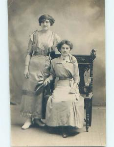 1920's rppc fashion WOMAN WEARS DRESS WITH MANY TASSELS BY ANOTHER WOMAN HM0538