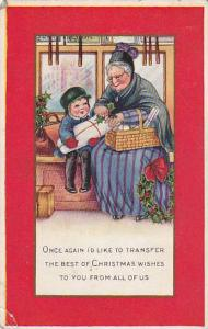 Grandmother puts mistletoe on package child is holding, Poem, PU-1917