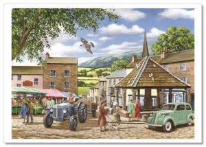 RUSTIC Village Old America Square Farmer's Market Landscape Russian Postcard