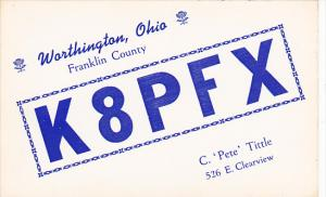QSL K8PFX C Pete Tittle Worthington Ohio
