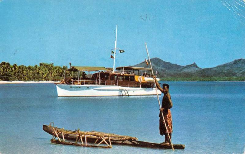 Suva Fiji Blue Lagoon Takia Motor Yacht Row Native Antique Postcard K13027