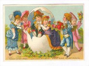 TC  Couple inside egg fantasy, ACME Best bar soap, 1890s