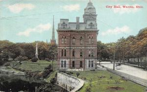 Warren OH Mansard Roof on Old City Hall~Burned Down 1916~Civil War Monument 1914