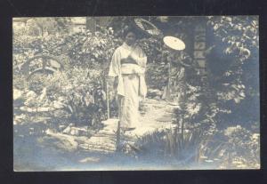 RPPC NIKKO JAPAN JAPANESE GEISHA GIRL VINTAGE REAL PHOTO POSTCARD