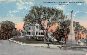 25204 ME, Bath, Residence of Hon. A. H. Shaw and Soldiers' Monument
