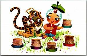 Vintage SAMBO'S RESTAURANTS Advertising Postcard Racial Comic / Tiger Pancakes