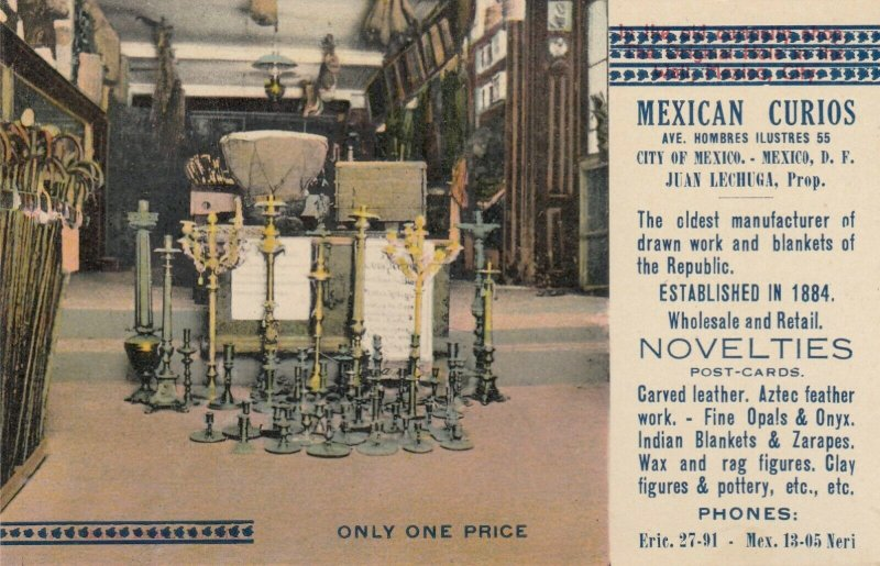MEXICO CITY, Mexico, 1900-10s ; Mexican Curios, Crafts Shop