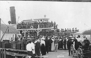 Casco Bay ME Steamer Monhegan Steamship Busy Scene  Real Photo Postcard