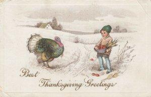 Best THANKSGIVING Greetings,  PU-1918; Boy talking to Turkey